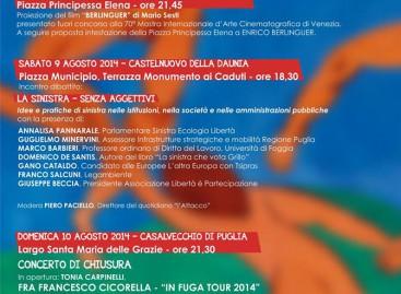 Casalnuovo, Casalvecchio, Castelnuovo: dall'8 al 10 agosto la festa della Sinistra
