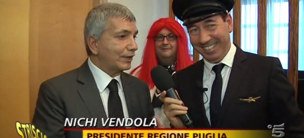 Volo Foggia – Milano, Vendola riceve il Provolone di Striscia