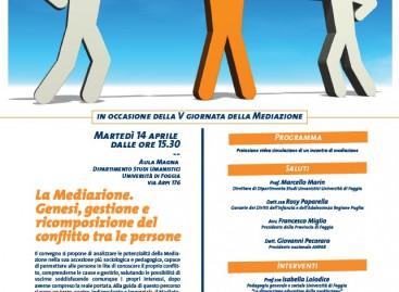 Foggia, 'La Mediazione. Genesi, gestione e ricomposizione del conflitto tra le persone' – 14 Aprile