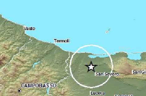 Terremoto Magnitudo 3.9 alle ore 13:34, epicentro Promontorio del Gargano