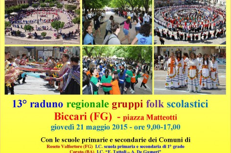 A Biccari, il raduno regionale Danzarìa 2015 Giovedì 21 maggio, dalle ore 9 alle ore 17