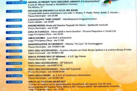 Casalnuovo Monterotaro, calendario eventi Agosto 2015