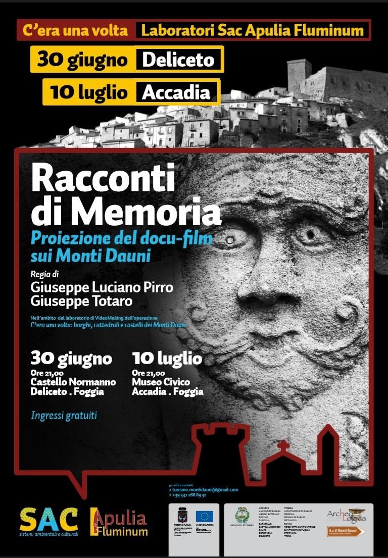 """Storie, personaggi e racconti dei Monti Dauni in un docu-film. Questa sera al Museo Civico di Accadia sarà proiettato """"Racconti di Memoria"""""""