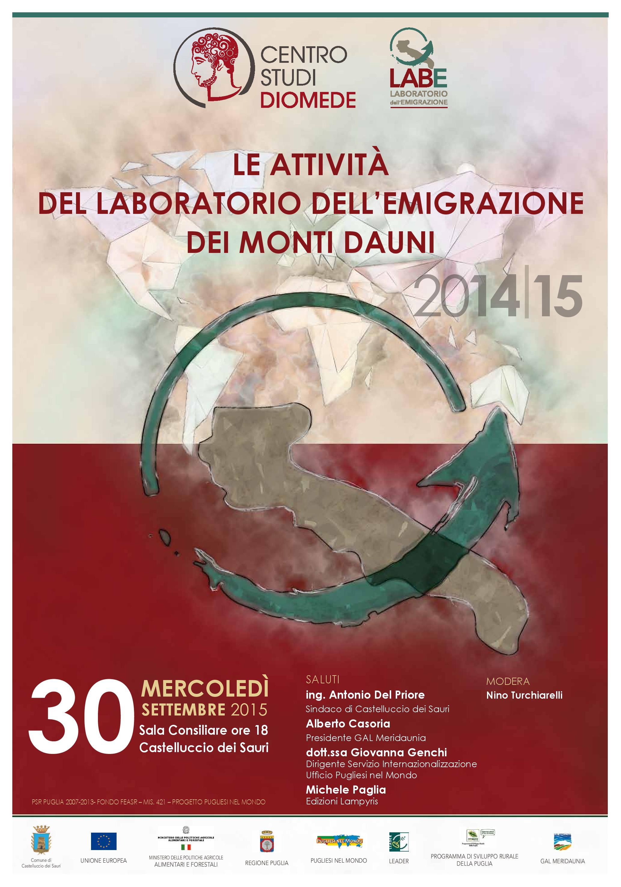 Bilancio delle attività del Laboratorio dell'Emigrazione dei Monti Dauni