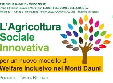 L'Agricoltura Sociale Innovativa per un nuovo modello di Welfare inclusivo nei Monti Dauni – 15 Ottobre