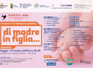 """""""Di madre in figlia"""": a Foggia incontro sulle mutazioni dei geni BRCA – 17 Ottobre"""