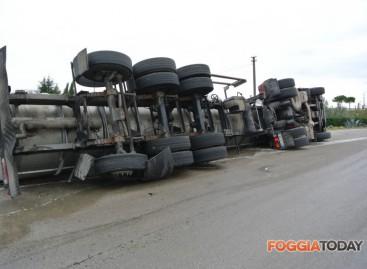 Incidente Stradale Foggia: si ribalta autocisterna lungo il tratturo Castiglione