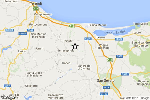 Terremoto Serracapriola, magnitudo 3.1, avvertito anche a San Paolo di Civitate e  Chieuti