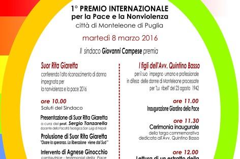 Monteleone di Puglia; 1° PREMIO INTERNAZIONALE PER LA PACE E NONVIOLENZA – 8 Marzo