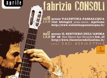 FABRIZIO CONSOLI OSPITE DELL'IMBOSCATA TRA MUSICA, VINO E DEGUSTAZIONI – 16 e 17 Aprile