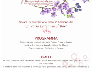 Cagnano Varano, Domenica 17 serata finale del Concorso Letterario il Rovo