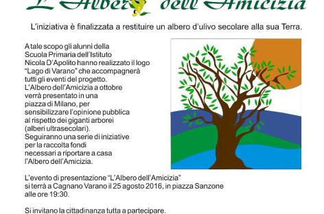 Cagnano, il 25 agosto la presentazione de 'L'Albero dell'Amicizia' che unirà Il Gargano con Milano