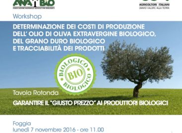 """Foggia, convegno nazionale: """"Il giusto prezzo ai produttori biologici"""" – 7 Novembre ore 11:30"""