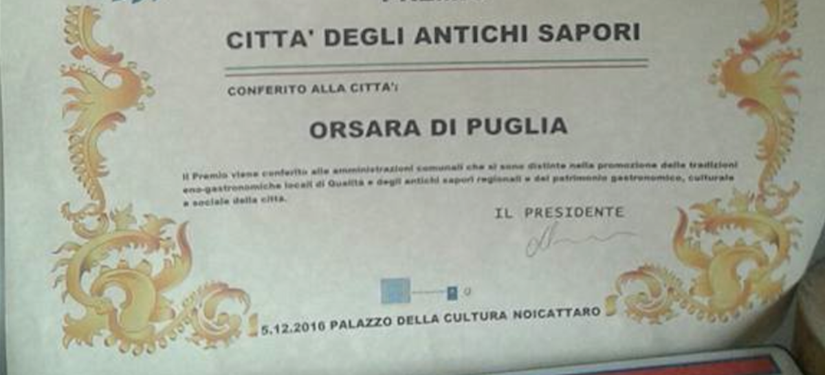 Quality Awards, Orsara premiata con Bologna e Matera