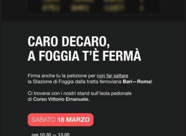 I big e i giovani di Forza Italia sabato in Piazza. Il treno Bari – Roma deve fermarsi a Foggia!