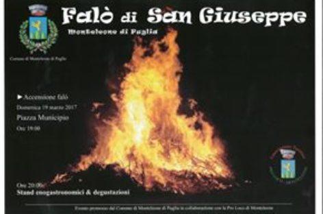 Monteleone di Puglia – Ritorna il gran falò di San Giuseppe