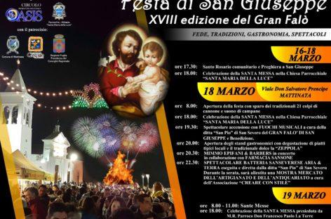 FESTA DI SAN GIUSEPPE – XVIII Edizione del Gran Falò 18 – 19 Marzo 2017