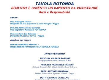 """""""Genitori e docenti: un rapporto da ricostruire"""" A Foggia il 25 maggio tavola rotonda della FLP Scuola"""