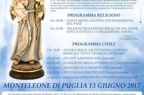 Il 13 giugno a Monteleone di Puglia ritorna la festa in onore di Sant'Antonio da Padova
