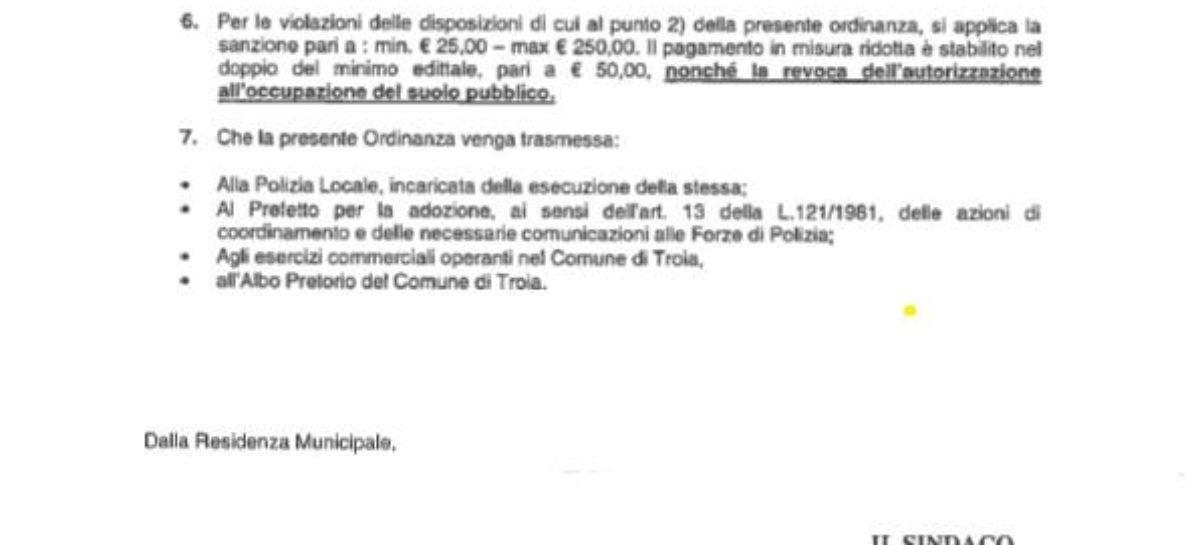 Troia, un'ordinanza del sindaco vieta 24h su 24 l'acquisto di bevande in vetro e lattina fino al 31 agosto