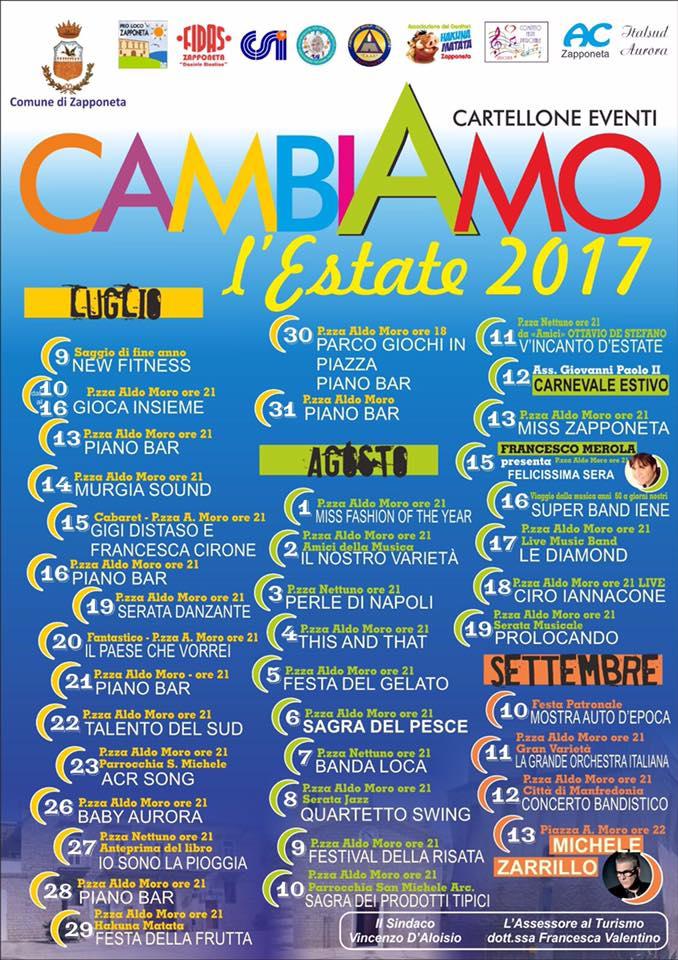 """Zapponeta presenta il suo cartellone estivo 2017: """"CambiAMO l'ESTATE"""""""