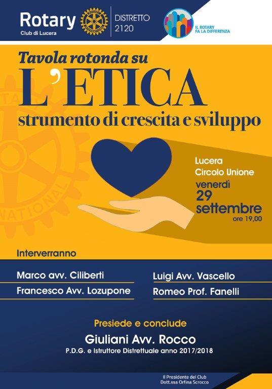 """Rotary Club Lucera, """"L'etica strumento di crescita e sviluppo"""""""