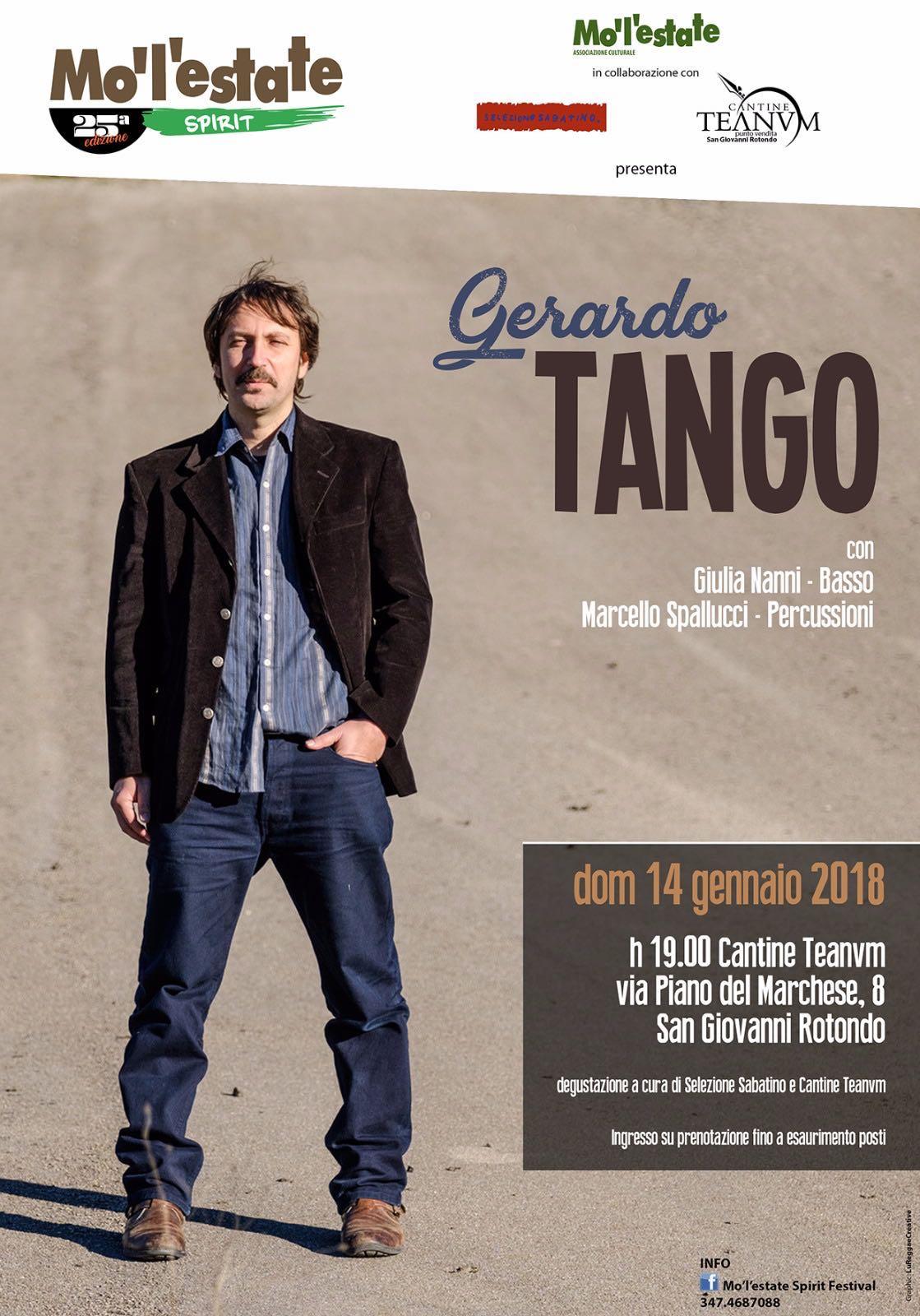 MO'L'ESTATE SPIRIT FESTIVAL apre la XXV edizione con Gerardo Tango