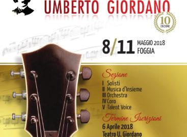 Partita la X edizione del Concorso Giordano. Pelù a Foggia il 10 maggio