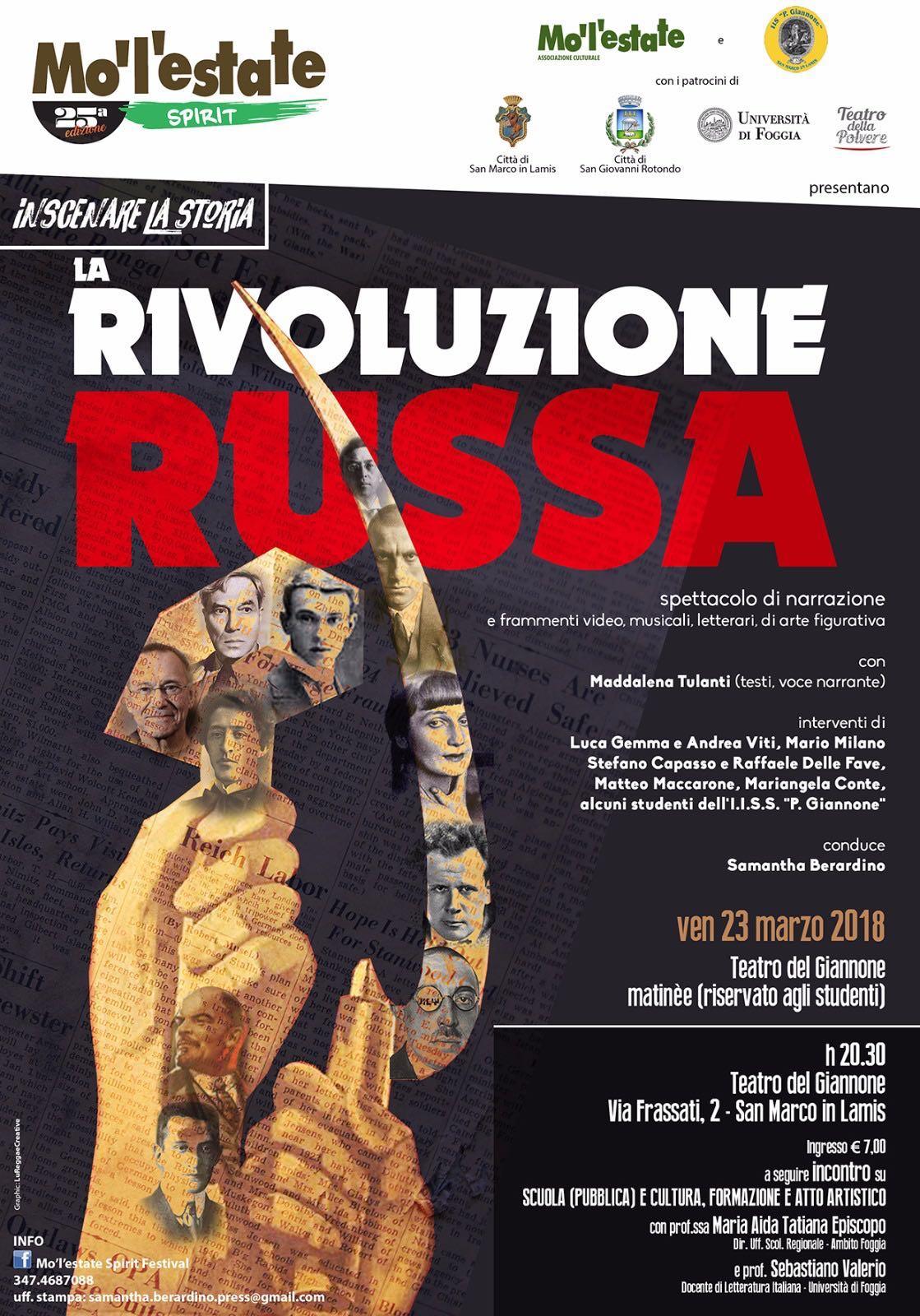 La Rivoluzione Russa venerdì a San Marco in Lamis