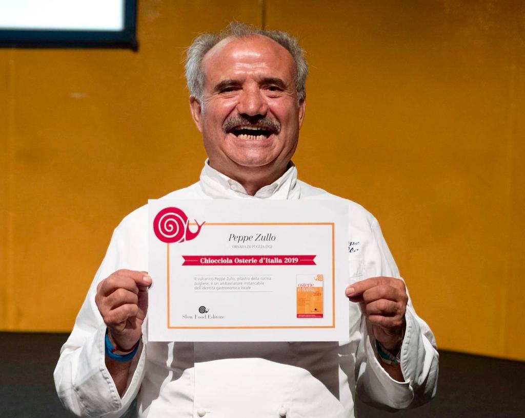 A Peppe Zullo il premio di Slow Food-Osterie d'Italia 2019